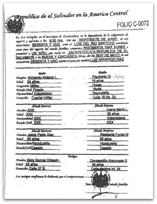 Vuelven a poner en duda nacionalidad de Luis Armando Díaz ...