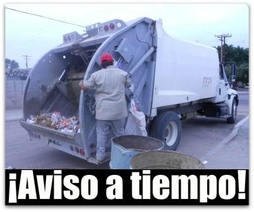 1 a aviso a los ciudadanos camion de basura recoleccion