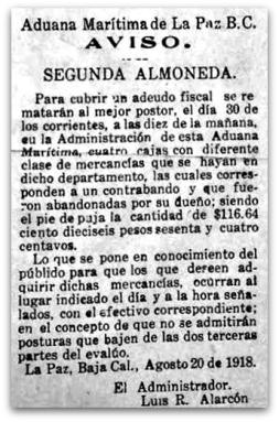 0 a aduana de la paz remate 1918